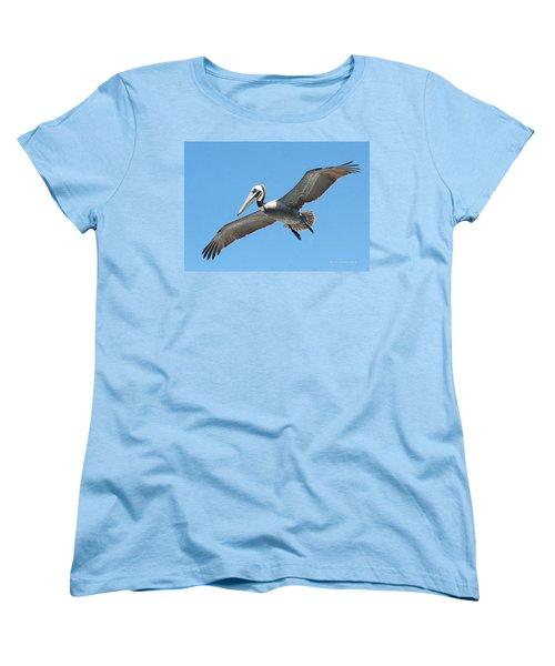 Women's T-Shirt (Standard Cut) featuring the photograph Pelican Landing On  Pier by Tom Janca