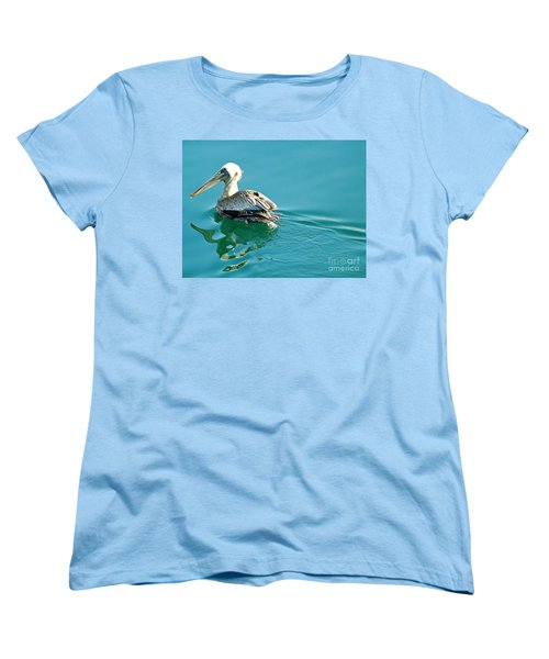 Women's T-Shirt (Standard Cut) featuring the photograph Pelican Swimming by Clare Bevan
