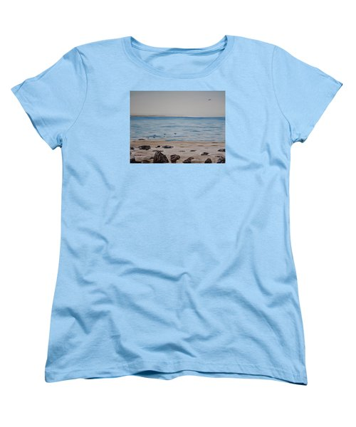 Women's T-Shirt (Standard Cut) featuring the painting Pelicans At El Capitan by Ian Donley