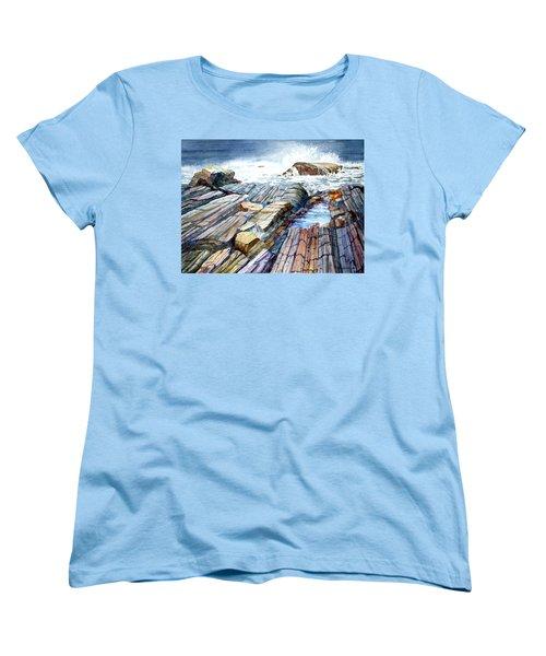 Pemaquid Rocks Women's T-Shirt (Standard Cut) by Roger Rockefeller