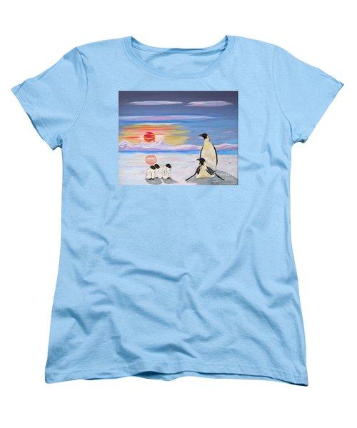 Penguin Family Women's T-Shirt (Standard Cut) by Phyllis Kaltenbach