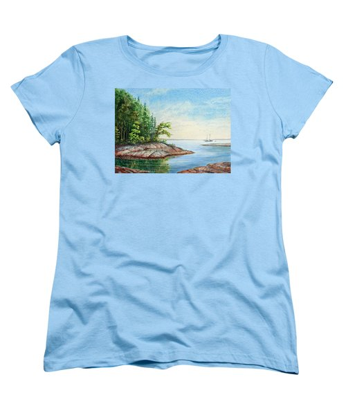 Women's T-Shirt (Standard Cut) featuring the painting Penobscot Inlet by Roger Rockefeller