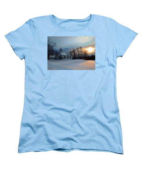 Piermont Church In Winter Light Women's T-Shirt (Standard Cut) by Nancy Griswold