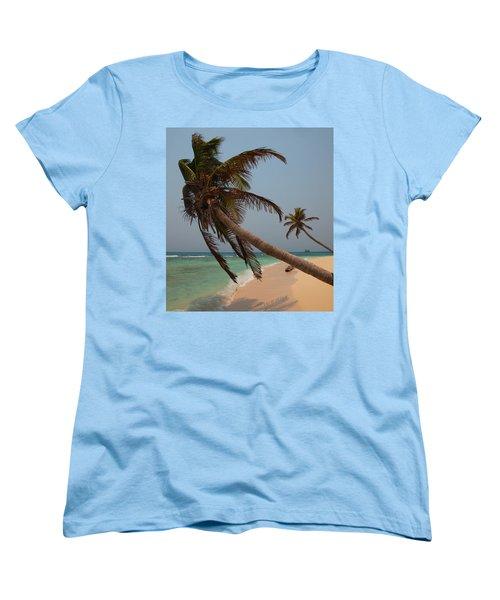 Pigeon Cays Palm Trees Women's T-Shirt (Standard Cut) by Susan Rovira