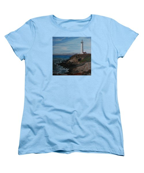 Women's T-Shirt (Standard Cut) featuring the painting Pigeon Lighthouse Daytime Titrad by Ian Donley