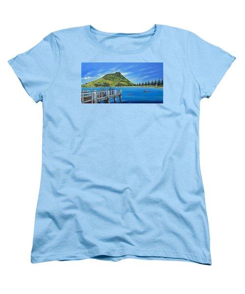 Women's T-Shirt (Standard Cut) featuring the painting Pilot Bay Mt Maunganui 201214 by Selena Boron