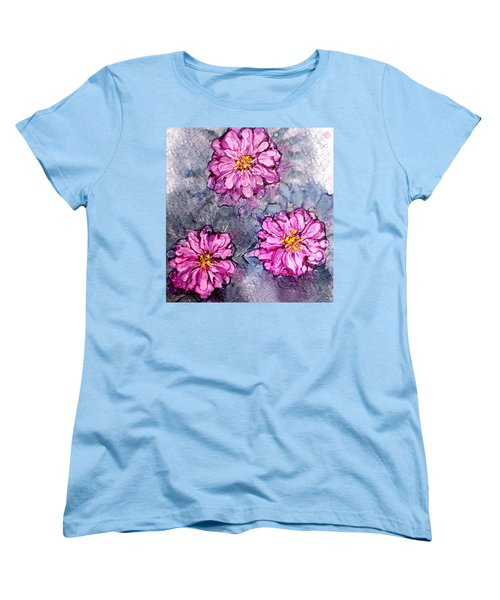 Women's T-Shirt (Standard Cut) featuring the painting Pink Dahlia Blooms Alcohol Inks by Danielle  Parent
