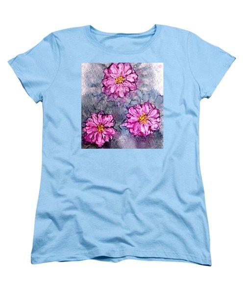 Pink Dahlia Blooms Alcohol Inks Women's T-Shirt (Standard Cut)
