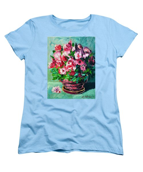 Women's T-Shirt (Standard Cut) featuring the painting Pink Flowers by Ana Maria Edulescu