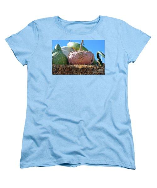 Women's T-Shirt (Standard Cut) featuring the photograph Pink Pumpkin And Friends by Minnie Lippiatt