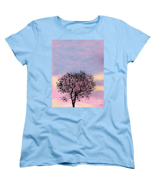 Women's T-Shirt (Standard Cut) featuring the drawing Pink Sunset by D Hackett