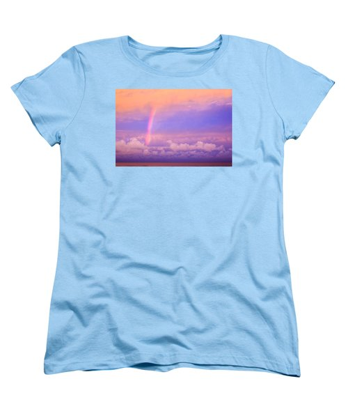 Women's T-Shirt (Standard Cut) featuring the photograph Pink Sunset Rainbow by Peta Thames