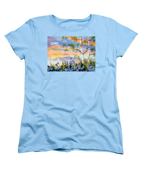 Women's T-Shirt (Standard Cut) featuring the painting Piper Cub Over Sleeping Lady by Teresa Ascone