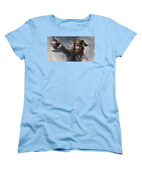Pirates Of The Caribbean Johnny Depp Artwork 2 Women's T-Shirt (Standard Cut) by Sheraz A