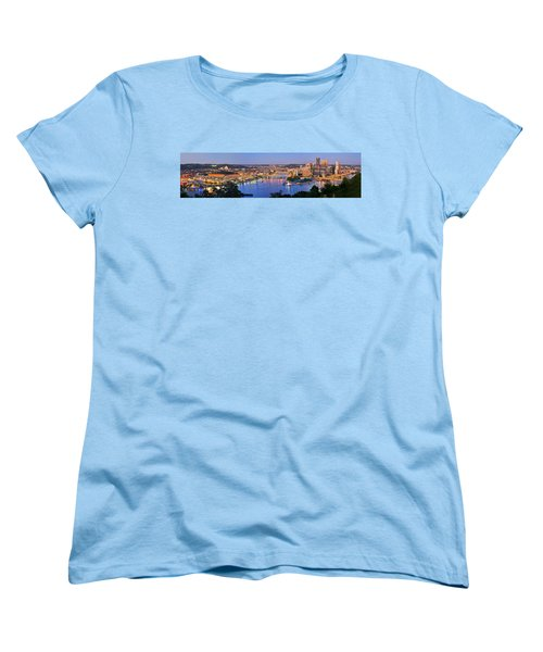 Pittsburgh Pennsylvania Skyline At Dusk Sunset Extra Wide Panorama Women's T-Shirt (Standard Cut)