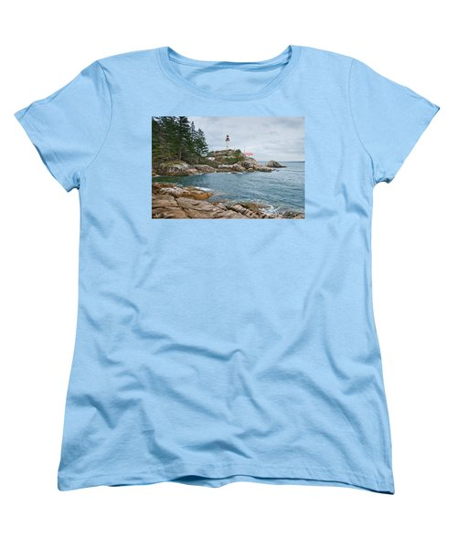 Women's T-Shirt (Standard Cut) featuring the photograph Point Atkinson Lighthouse And Rocky Shore by Jeff Goulden