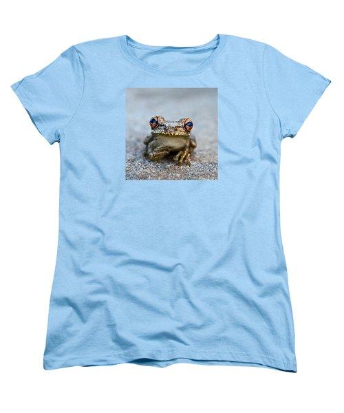 Pondering Frog Women's T-Shirt (Standard Cut) by Laura Fasulo