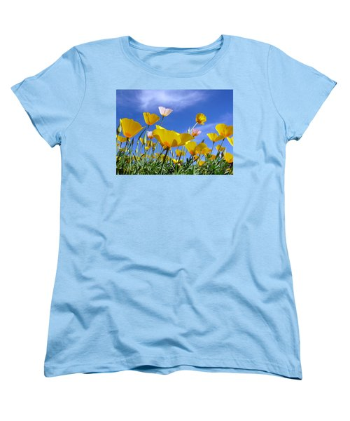 Poppies And Blue Arizona Sky Women's T-Shirt (Standard Cut) by Lucinda Walter