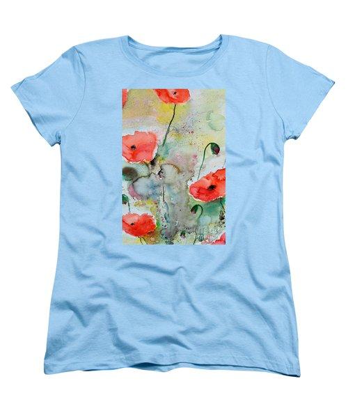Poppies - Flower Painting Women's T-Shirt (Standard Cut) by Ismeta Gruenwald