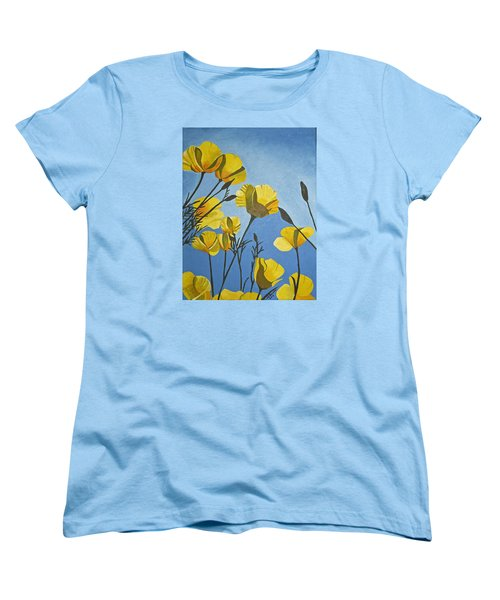 Poppies In The Sun Women's T-Shirt (Standard Cut) by Donna Blossom