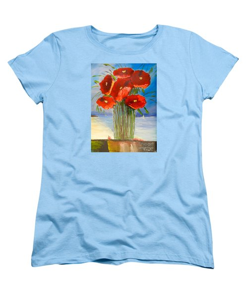 Women's T-Shirt (Standard Cut) featuring the painting Poppies On The Window Ledge by Pamela  Meredith