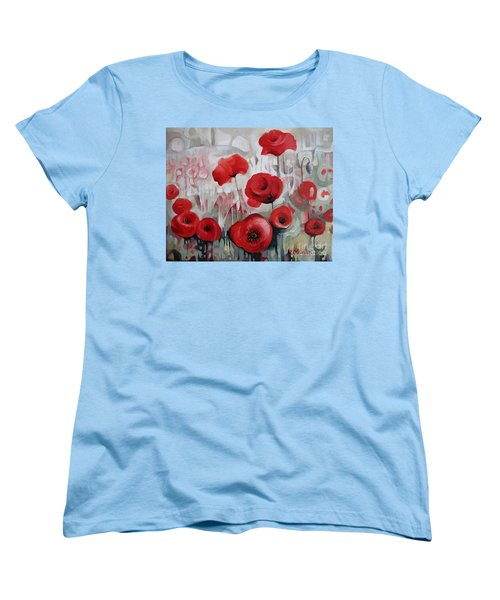 Women's T-Shirt (Standard Cut) featuring the painting Poppy Flowers by Elena Oleniuc