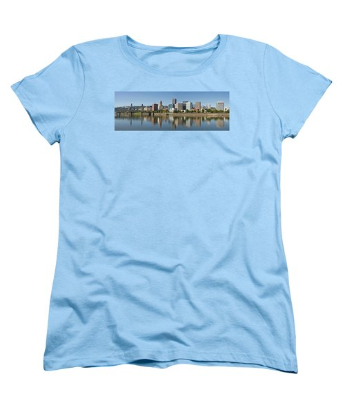 Women's T-Shirt (Standard Cut) featuring the photograph Portland Downtown Waterfront Skyline Panorama by JPLDesigns