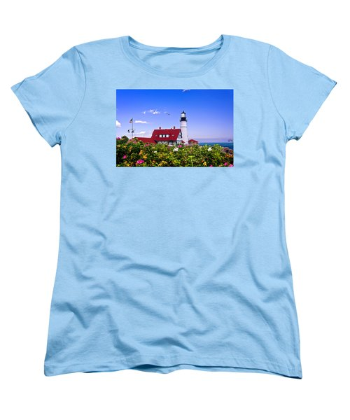 Portland Head Light And Roses Women's T-Shirt (Standard Cut) by Mitchell R Grosky