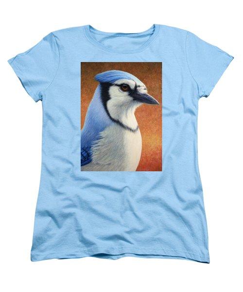 Portrait Of A Bluejay Women's T-Shirt (Standard Cut) by James W Johnson