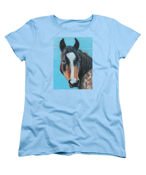 Women's T-Shirt (Standard Cut) featuring the painting Portrait Of A Wild Horse by Jeanne Fischer