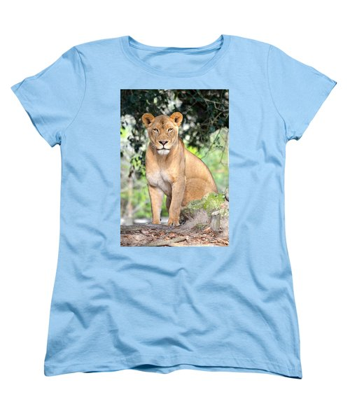 Portrait Of A Proud Lioness Women's T-Shirt (Standard Cut) by Richard Bryce and Family