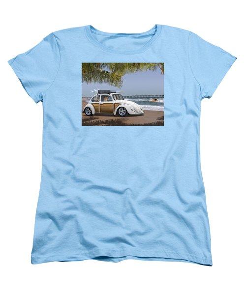 Postcards From Otis - Beach Corgis Women's T-Shirt (Standard Cut) by Mike McGlothlen