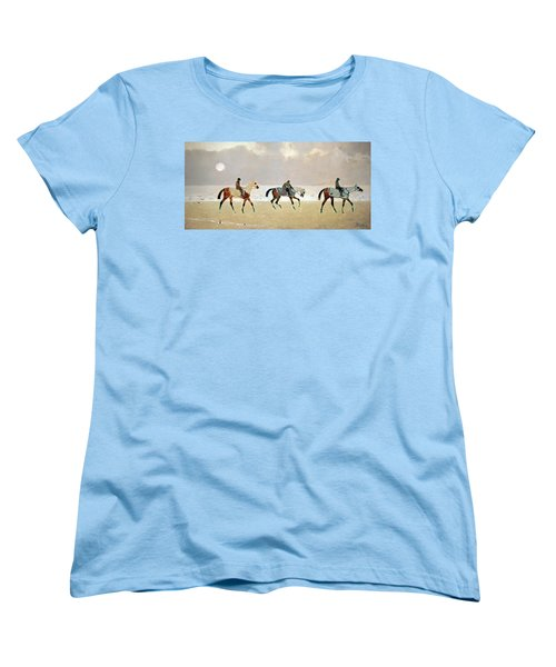 Princeteau's Riders On The Beach At Dieppe Women's T-Shirt (Standard Cut) by Cora Wandel