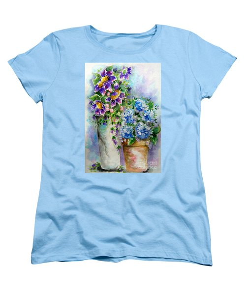 Women's T-Shirt (Standard Cut) featuring the painting Purple Flowers by Patrice Torrillo
