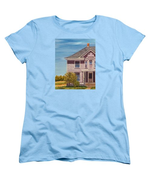 Purple House On The Prairie Women's T-Shirt (Standard Cut) by Alan Mager