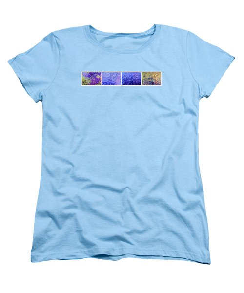 Women's T-Shirt (Standard Cut) featuring the photograph Quadryptich Of Colorful Water Bubbles by Peter v Quenter