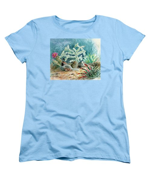 Quail At Rest Women's T-Shirt (Standard Cut) by Marilyn Smith