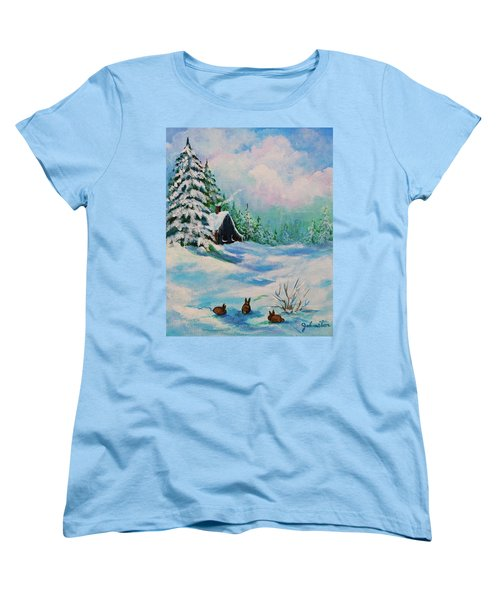 Women's T-Shirt (Standard Cut) featuring the painting Rabbits Waiting For Spring by Bob and Nadine Johnston