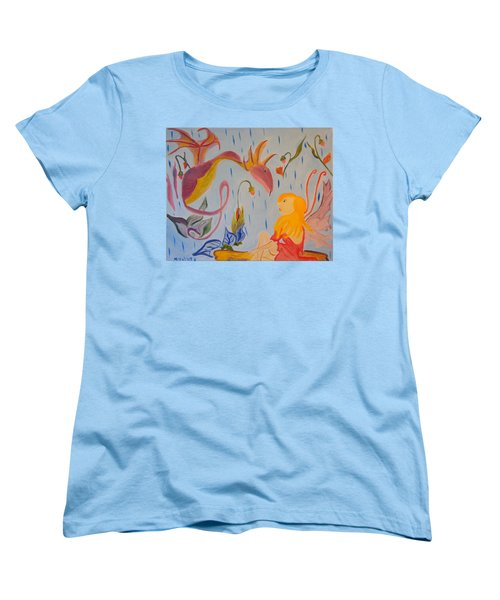 Women's T-Shirt (Standard Cut) featuring the painting Rain Dragon by Meryl Goudey