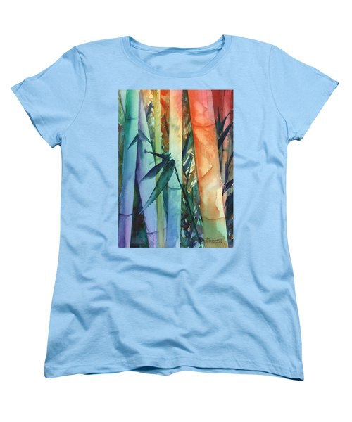 Women's T-Shirt (Standard Cut) featuring the painting Rainbow Bamboo 2 by Marionette Taboniar