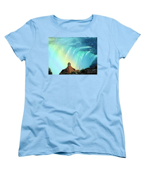 Women's T-Shirt (Standard Cut) featuring the photograph Rainbow Over Horseshoe Falls by Janette Boyd
