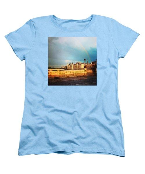 Rainbow Over The Seine. Women's T-Shirt (Standard Cut) by Allan Piper