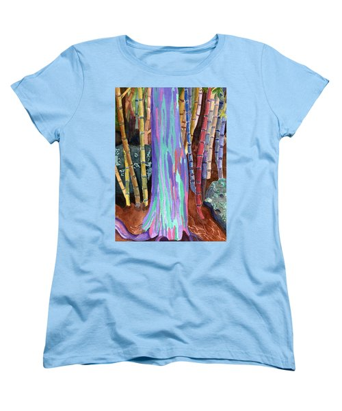 Women's T-Shirt (Standard Cut) featuring the painting Rainbow Tree by Lynne Reichhart