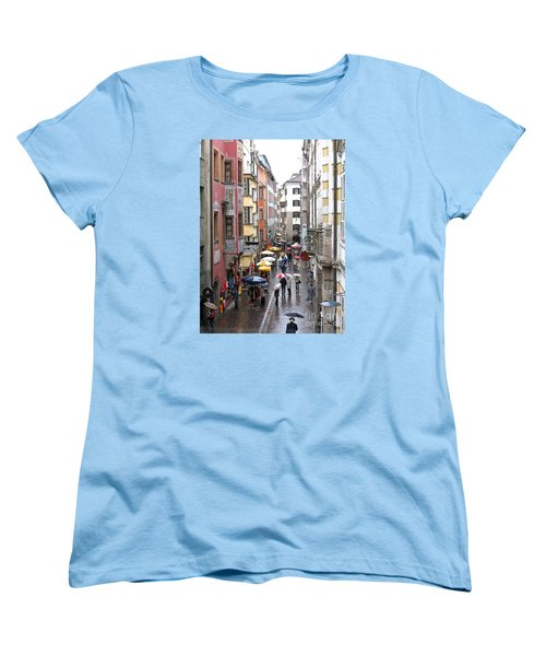 Women's T-Shirt (Standard Cut) featuring the photograph Rainy Day Shopping by Ann Horn