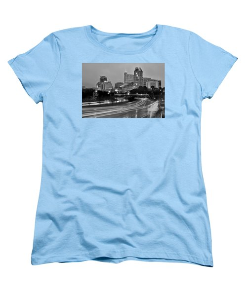 Women's T-Shirt (Standard Cut) featuring the photograph Raleigh Skyline At Dusk Evening Black And White Bw Evening Panorama North Carolina Nc by Jon Holiday