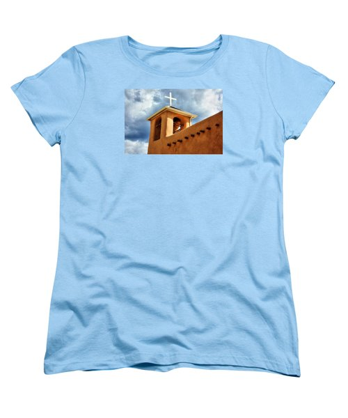 Rancho De Taos Bell Tower And Cross Women's T-Shirt (Standard Cut) by Lanita Williams
