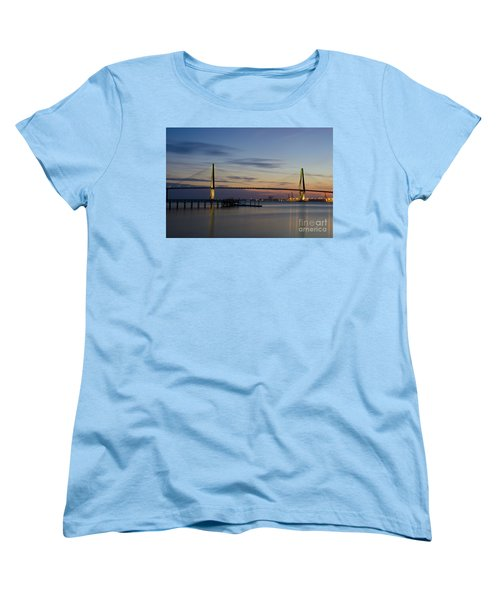 Women's T-Shirt (Standard Cut) featuring the photograph Ravenel Bridge Nightfall by Dale Powell
