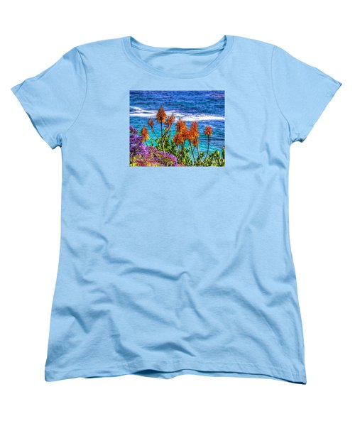 Women's T-Shirt (Standard Cut) featuring the photograph Red Aloe By The Pacific by Jim Carrell