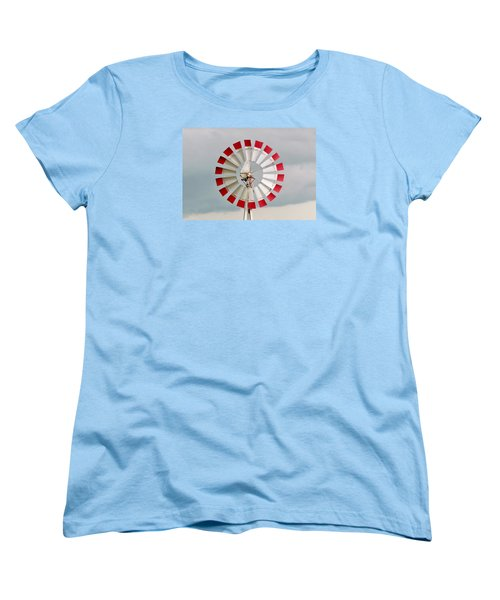 Women's T-Shirt (Standard Cut) featuring the photograph Red And White Windmill by Cynthia Guinn