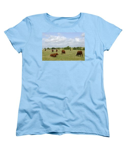 Women's T-Shirt (Standard Cut) featuring the photograph Red Angus Cattle by Charles Beeler